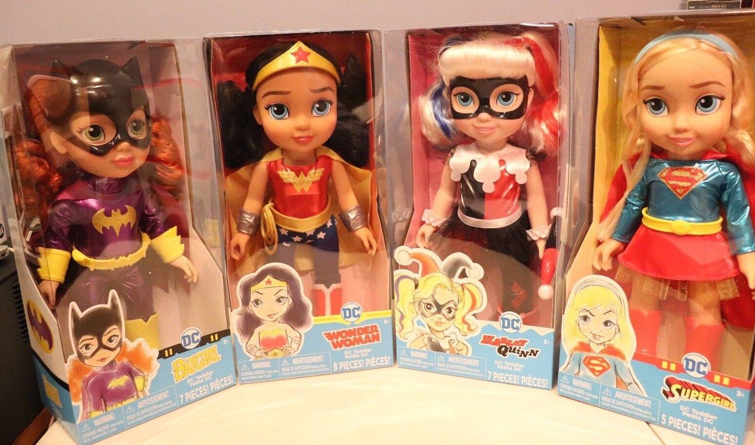DC Toddler bambolas-Wonder donna, BatGirl,  SuperGirl & Harley Quinn RARE     acquista la qualità autentica al 100%
