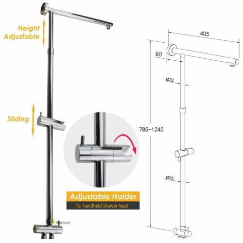 WELS Chrome Rain Handheld Twin Shower Head Sliding Rail Arm Set Square//Round