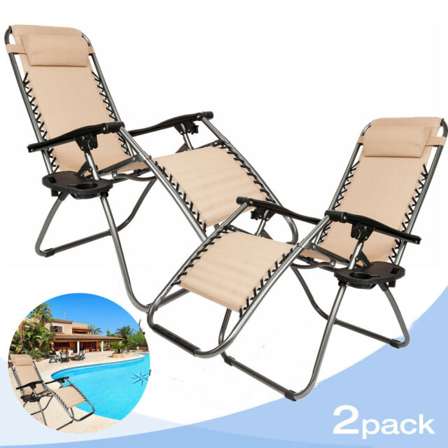 ce7f847981f Set Of 2 Zero Gravity Chair Folding Lounge Patio Outdoor Recliner Beach  Chairs