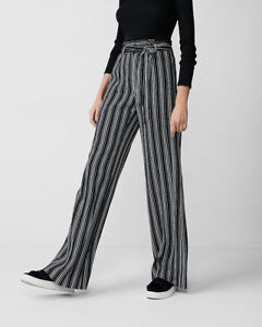 20ec1968d500 NEW EXPRESS nwt high waist tie waist striped wide leg PANTS 6L long ...
