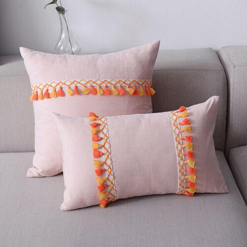 Throw Pillow Case Cushion Cover Tassel Fringe Boho Suede Cover 30x50cm//45x45cm
