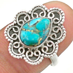 2.44cts Solitaire Blue Copper Turquoise 925 Sterling Silver Ring Size 7 T41462