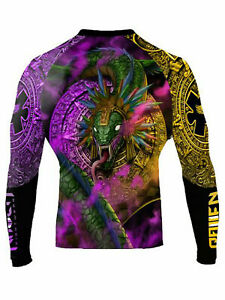 Raven Fightwear Men's Quetzalcoatl Aztec Rash Guard MMA BJJ Black