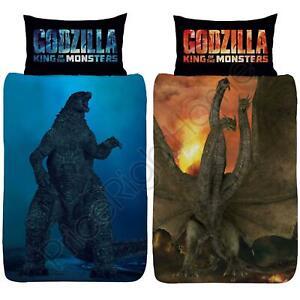 Godzilla-vs-Ghidorah-Set-Housse-de-Couette-Simple-Reversible-Enfants-Literie