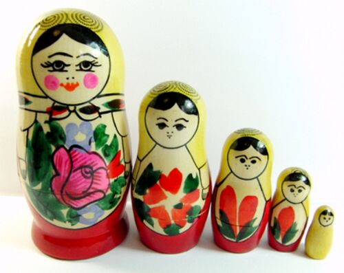 Russian Doll Set 5 pcs Nesting Matryoshka Wooden Hand Painted 11cm New