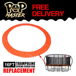 Replacement-16FT-Curved-Trampoline-Spring-Cover-Pad-Round-Spare-Part-Orange