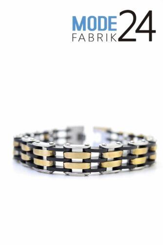 Edelstahl Herren Armband Schmuck Königs Panzer Kette Silber Gold Schwarz massiv