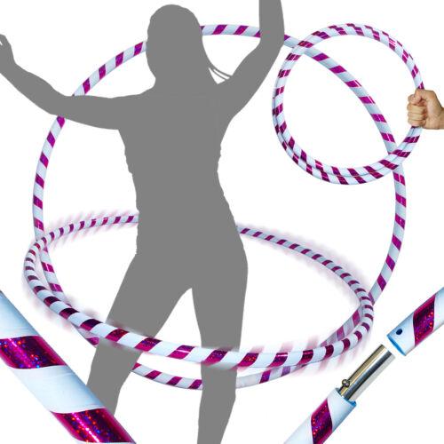 Weighted TRAVEL Hoola Hoop Hula Hoops Ultra-Grip//Glitter Deco White//Purple