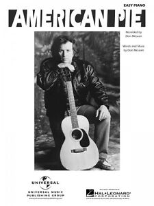 american pie sheet music easy piano don mclean new 000120038 73999027402 ebay. Black Bedroom Furniture Sets. Home Design Ideas