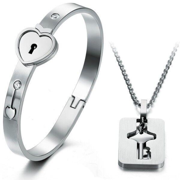New Titanium Steel Heart lock Bracelet Ring key Pendant Necklace Couples Gift