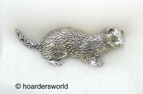Handmade Ferret Pin Badge in Fine English Pewter
