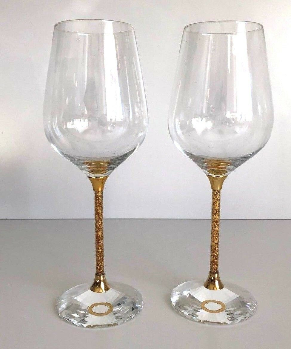AARYA 24KT  by Vviolet - WINE GLASSES WITH  PURE or CRUSH STEMS - set of 2