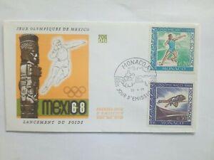 MONACO-Timbre-1-jour-FDC-lettre-JO-MEXICO-1968-Poids-Saut-en-Hauteur