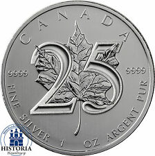 Kanada 5 Dollars Silber 2013 Stgl. Silbermünze 25 Jahre Maple Leaf