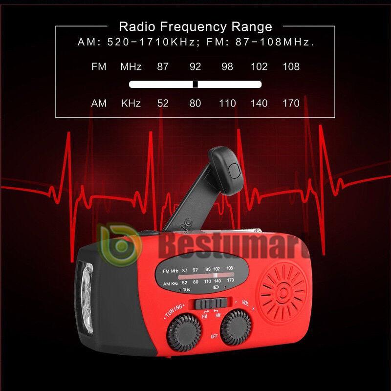 Emergency Solar Hand Crank Torch Dynamo AM/FM/WB/NOAA Weather Radio LED Torch Crank Charge a38be1