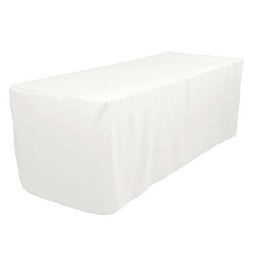 5/' ft Fitted Polyester Table Cover Wedding Trade show Booth DJ Tablecloth WHITE