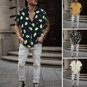 Mens-Turn-Down-Collar-Short-Sleeve-Casual-Shirts-Funny-Avocado-Print-Blouse-Tops