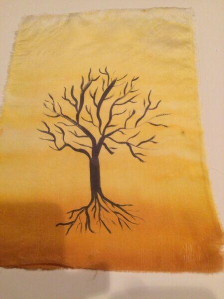 """100% Wahr Seidenmalerei Bild Baum """"winter"""" Unbekannter Künstler Ohne Rahmen Den Speichel Auffrischen Und Bereichern"""