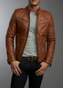Men s Real Lambskin Tan Brown Leather Motorcycle Jacket Slim fit ... 132ad49b5