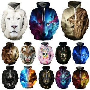 3D Wolf Lion Women Hooded Sweater Pocket Sweatshirt Jacket Coat Pullover Tops