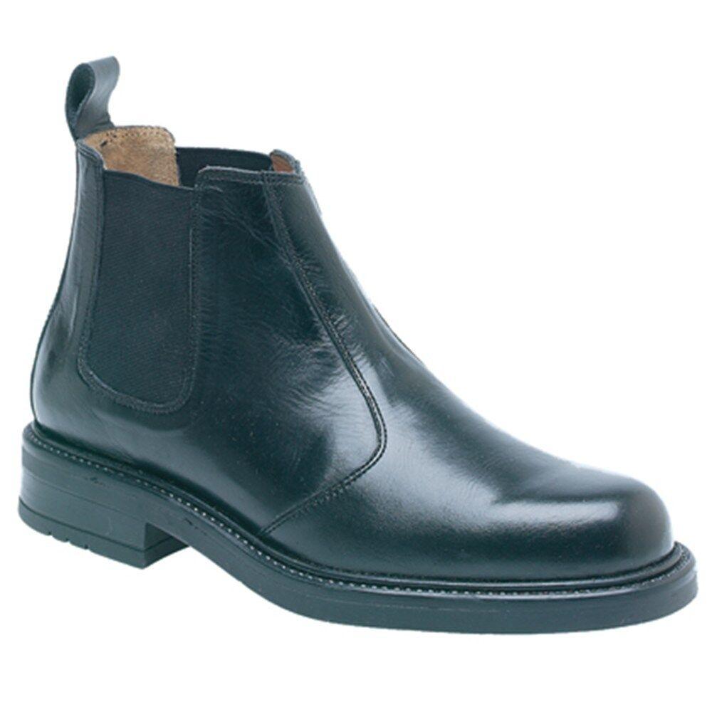 Para Hombre Caballeros Negro De Cuero Marrón Slip On Pull Chelsea Distribuidor Arranque confort Wear