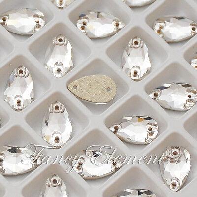 20pcs Glass Teardrop 3230 Clear 12x7mm Crystal Foiled Sew on Rhinestone Flatback