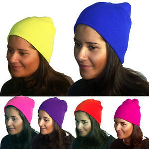 eda6ecb0bd6890 Knitted Hat Ladies Wooly Beanie Warm Winter Neon Thermal Insulation ...