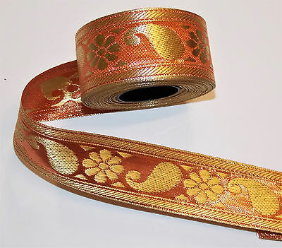 orange gold sequin embroidered net ribbon applique motif trimming decor