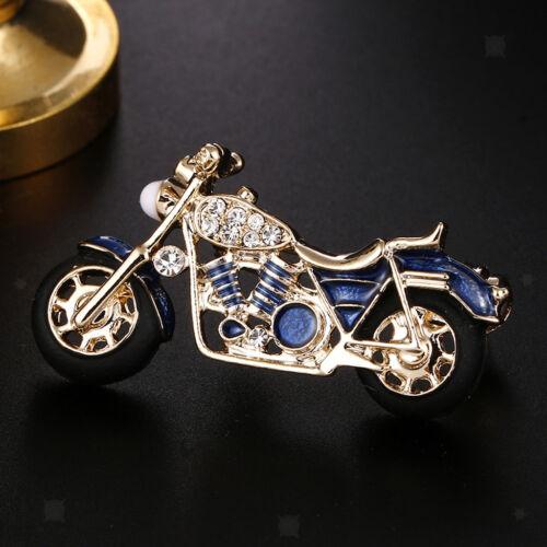 Fashion Rhinestone Enamel Motorcycle Brooch Pin Men Women Jewelry