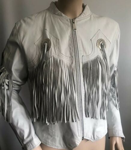 Vtg Pioneer Wear White Leather Fringe Jacket Conch