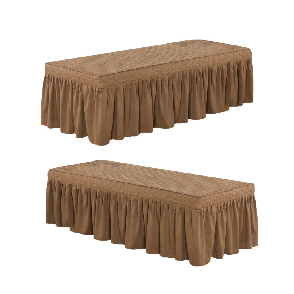 "2xCoffee 73x28""Comfortable Beauty Salon Massage Table Skirt Bed Cover"