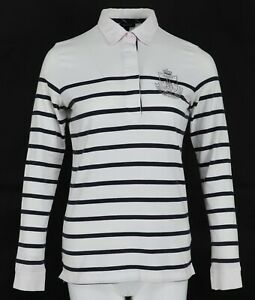 GANT-Striped-Long-Sleeve-Women-039-s-Casual-Cotton-Top-Polo-Shirt-Blouse-Size-M