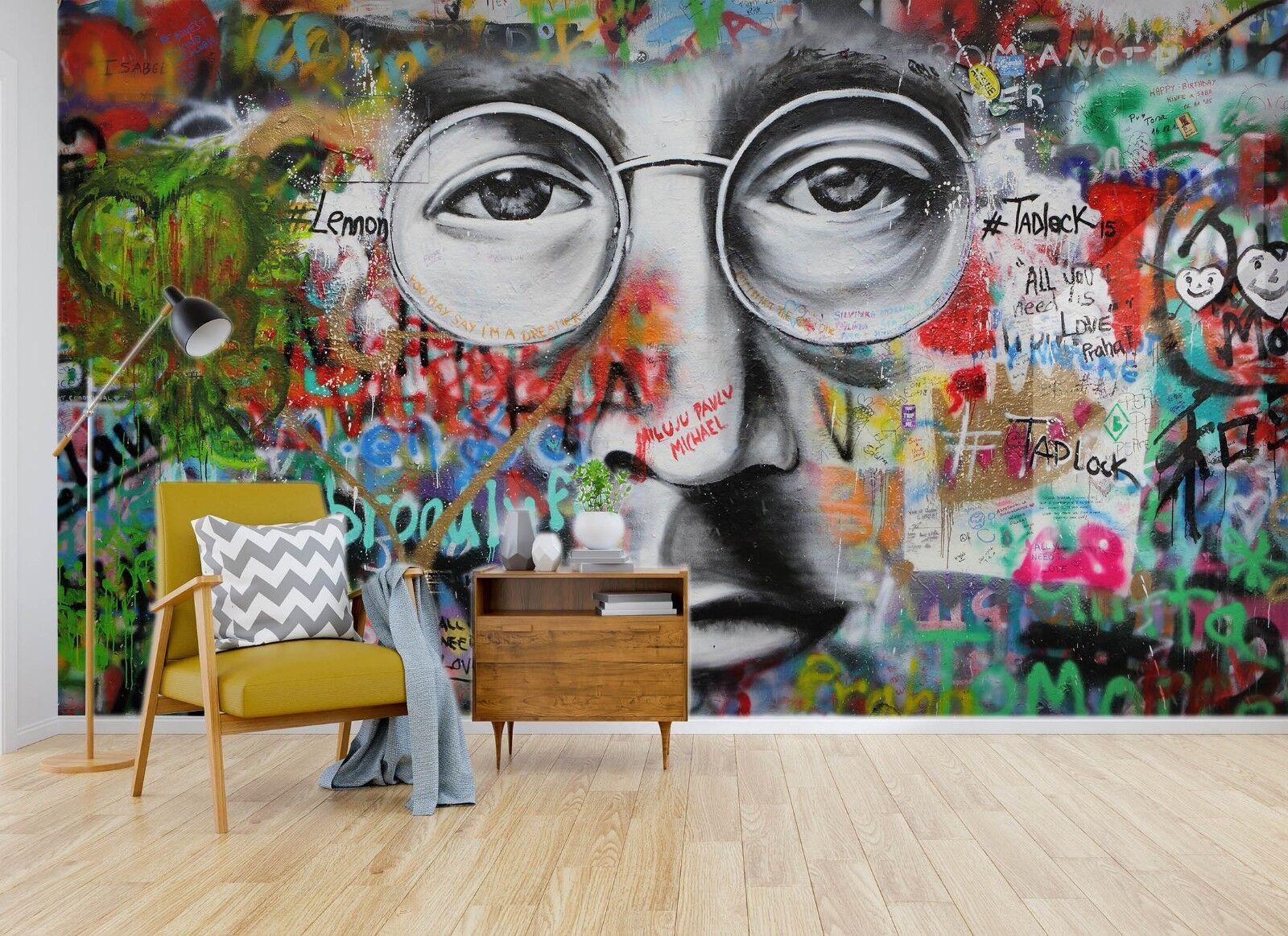 3D Man Face Graffiti 45 Wall Paper Wall Print Decal Wall Deco Indoor Wall Murals