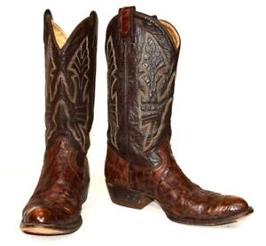 Vtg-Montana-Boot-Co-SNAKE-SKIN-Brown-Leather-Cowboy-Western-Boots-Men-039-s-Sz-11-5D