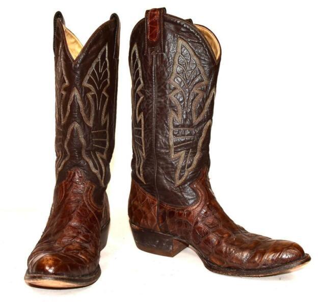 Vtg Montana Boot Co SNAKE SKIN Brown Leather Cowboy Western Boots Men's Sz 11.5D