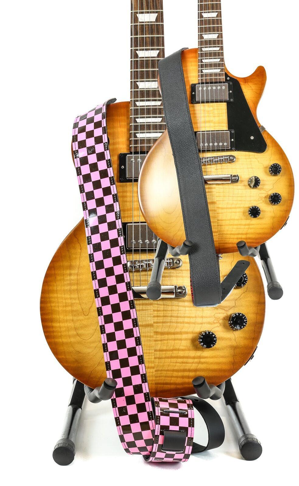 Reversible Buffalo genuino cuero cuero cuero correa de guitarra de tablero de ajedrez clásico rosadodo  venta con descuento