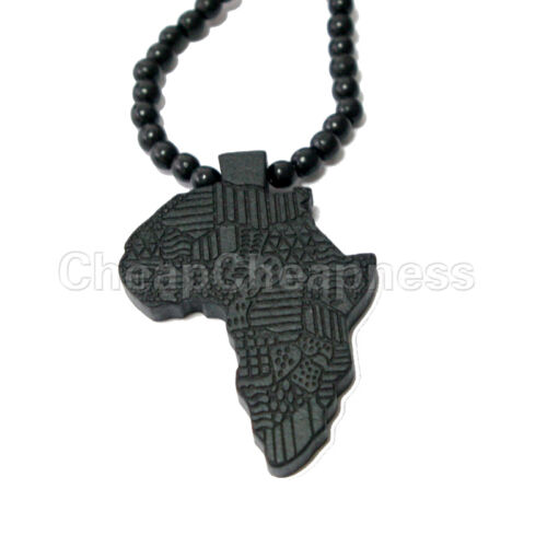 Good Quality African Map Pendant Wood Bead Chain Hip Hop Necklace Chain HI