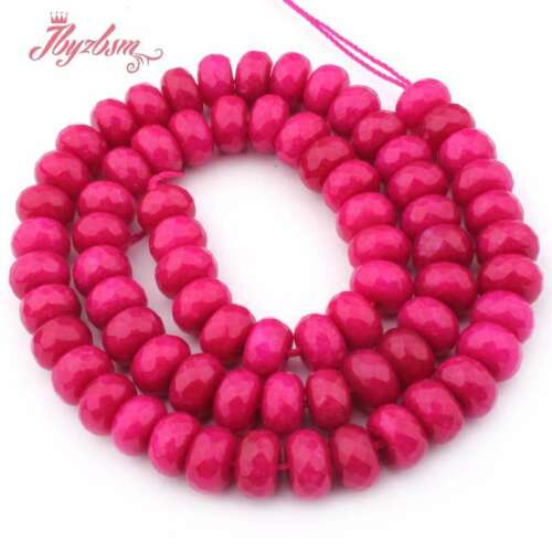 """5x8mm Faceted Mutil-Color Rondelle Jade Stone Loose Beads Jewelry Making 15/""""DIY"""