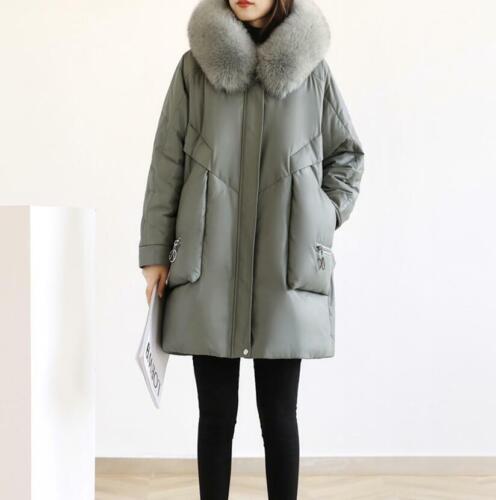 S-3XL Women Winter Down Warm Jacket Fur Collar Leather Outwear Oversize Coat New