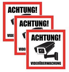 3x achtung video berwachung aufkleber hinweisschild. Black Bedroom Furniture Sets. Home Design Ideas