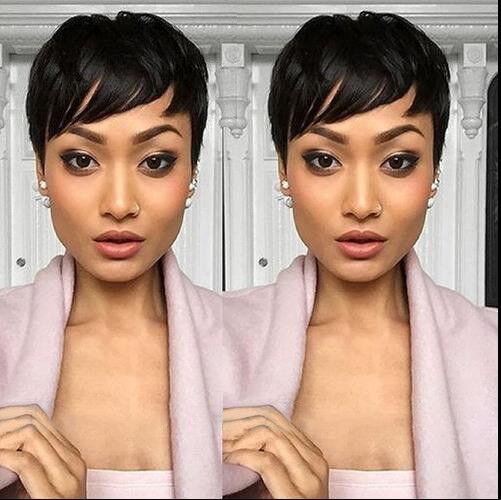 Short Human Hair Wigs Pixie Cut BLACK For