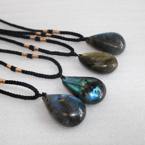 Natural Labradorite Drop Pendant Charm Crystal Pendant Necklace Healing Stone