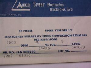 Resistors 50 Mil Spec Airco Speer RCR20G152KS 1.5K 10/% 1//2W Carbon Comp