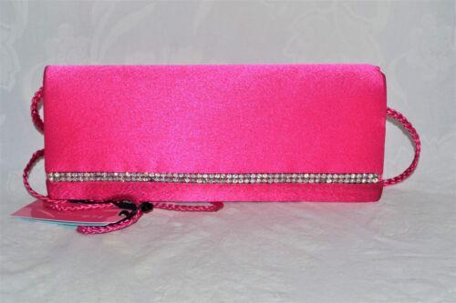 JNS Plain Satin Crystal Clutch Bag Magnet Opening Shoulder Strap Cruise Prom NEW