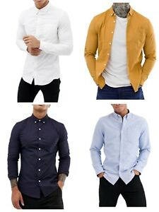 Men-039-s-Casual-Oxford-Shirt-Button-Down-Collar-Long-Sleeve-Shirts-Regular-Fit-RH02