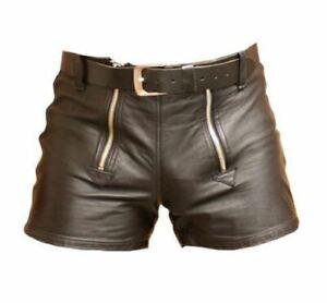 Herren-Lamm-Leder-Basketball-Shorts-Echtleder-Sport-Shorts-braun