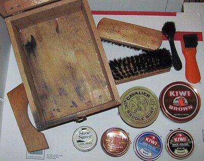 Arrow Wooden Shoe Shine Box Horse Hair Brushes Kiwi Cavalier Polish Tins Repair
