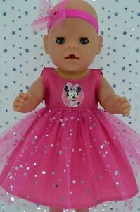 """Play n Wear Doll Clothes To Fit 17"""" Baby Born HOT PINK SEQUIN DRESS~HEADBAND"""