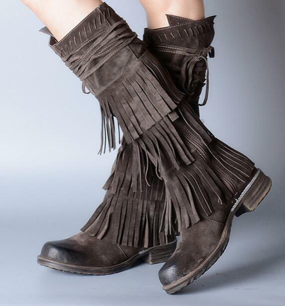 Donna Low Heels Real Suede Frange Tassels Knee High Retro Oxfords Stivali outdoor