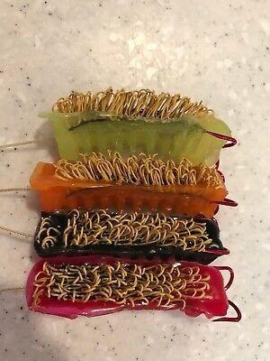 12 Pack Custom Color Woolyback Catfish Dip Bait Stinkbait Worms w Treble Hook
